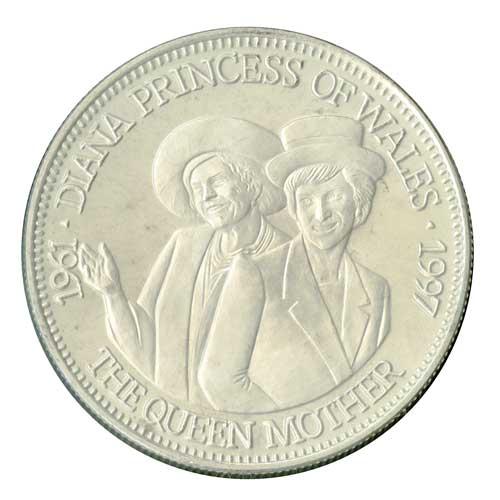 Diana with Queen Elizabeth II coin
