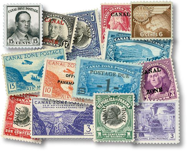 1906-76 Canal Zone Stamp Collection, Mint and Unused w/small imperfections, 60 stamps
