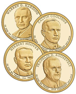 2014 $1.00 US President Coins, Set of 4 Philadelphia Mint