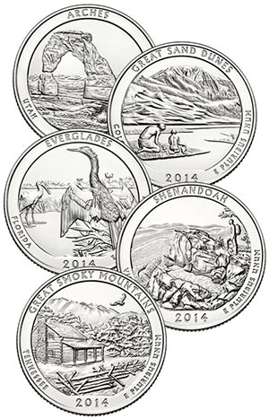 2014 US National Park Quarters 5v D Mint