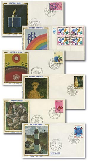 UN Silk First Day Covers, Set of 200