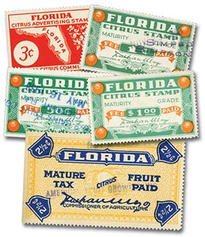 Florida Citrus Tax Stamps, 5 used stamps