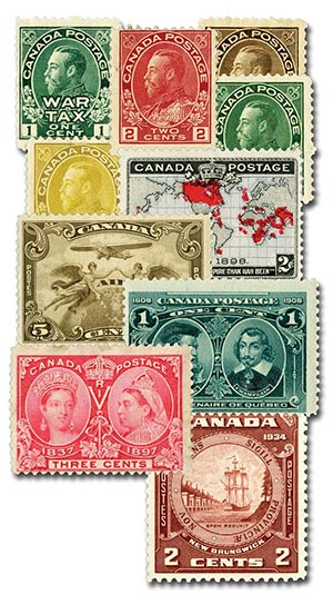 1897-1940 High Value Canada Stamps, Set of 11, Unused with small imperfections