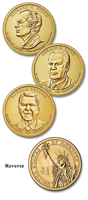 2016 $1.00 US President Coins, set of 3