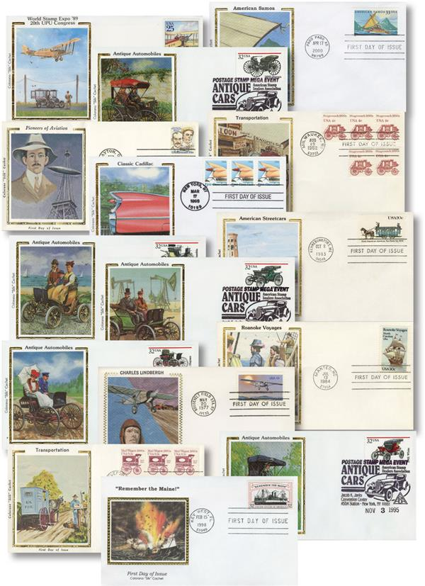 15 Different Land, Sea & Air Transportation US Silk FDC's