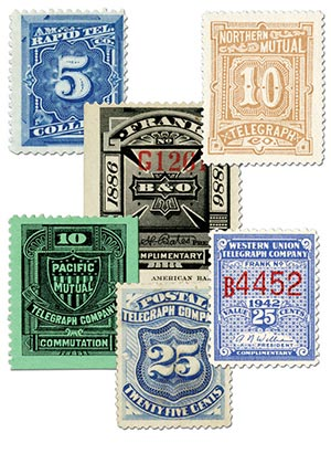 Item #M11732 – Set of 6 telegraph stamps from different companies.