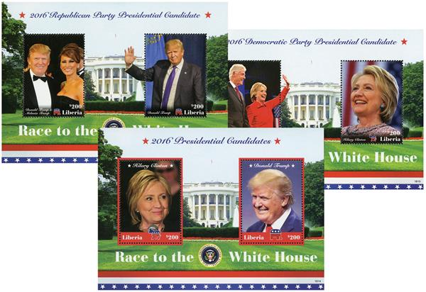 2016 Clinton & Trump Mint s/s, set of 3