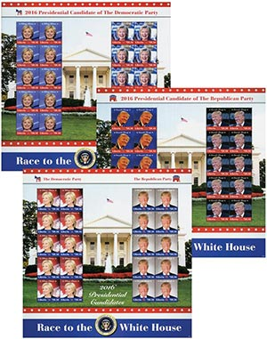 2016 Clinton & Trump Mint Sheets, 3v