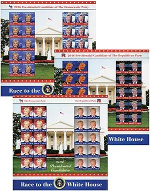 2016 Clinton & Trump Mint Sheets, 3v