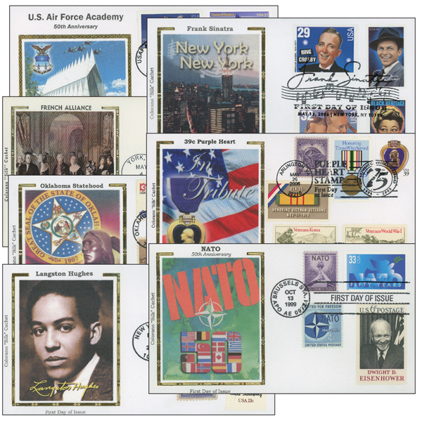Silk First Day Covers with Multiple US Stamps, Set of 75
