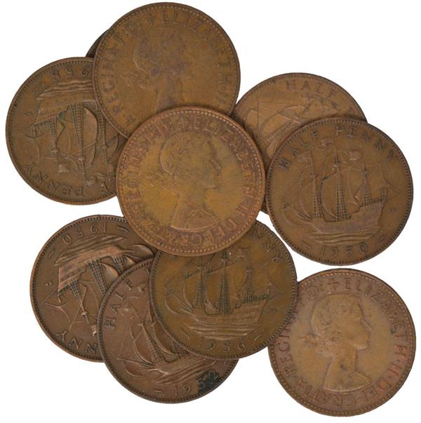 10 Different Great British 1/2 Pennies, with Various Date Ranges