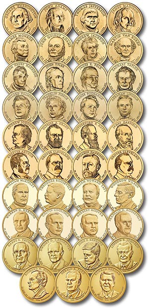 2007-16 $1 US President Coins, Set of 39