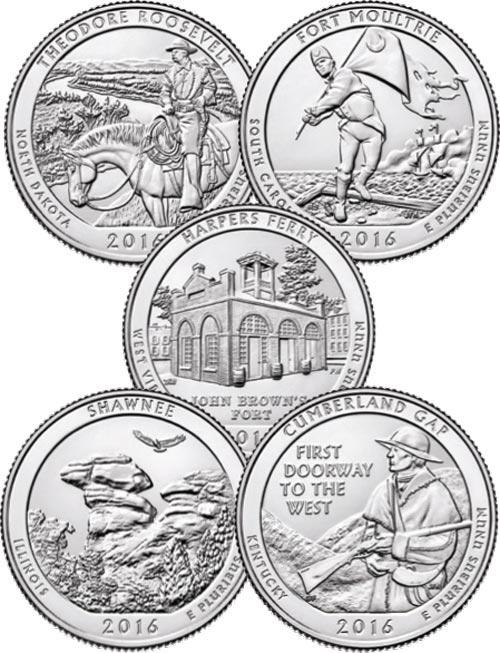 2016 US Park Quarters, D Mint set of 5