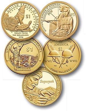2013-17 Native American $1 Coins, 5v