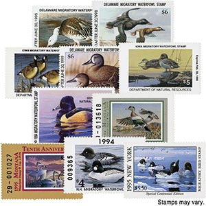 State Duck Stamp Collection, Mint, Set of 10 Stamos