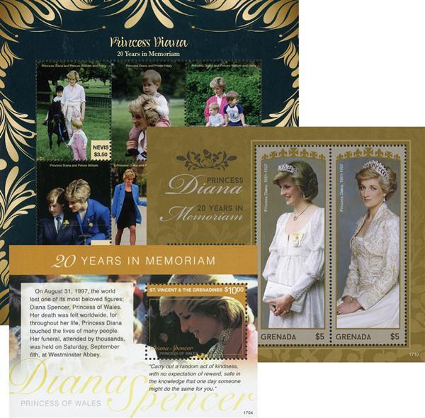 2017 Princess Diana - 20 Years in Memoriam set of 2 sheets & 1 souvenir sheet
