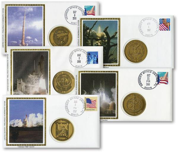 Silk achet Space Covers with Medals, Set of 5, U.S.