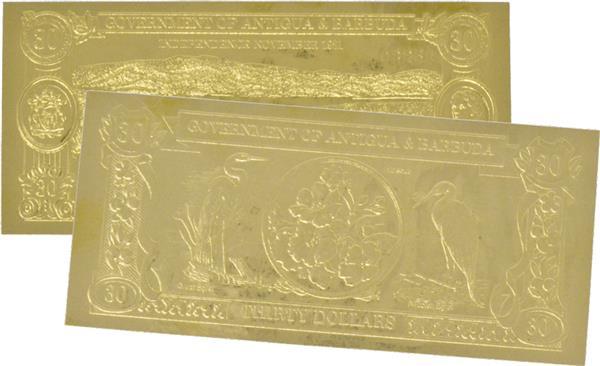 1981-83 Antigua & Barbuda 23 Karat Gold Banknote; 1v
