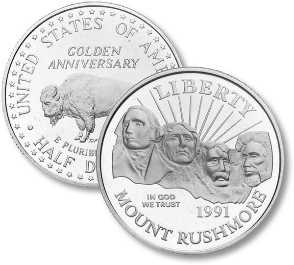 1991 Mount Rushmore Clad Half Dollar, Proof
