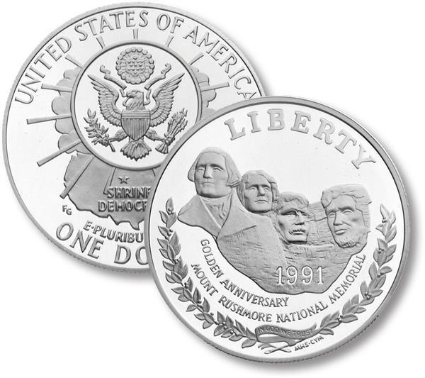 1991 Mount Rushmore Silver Dollar, Proof