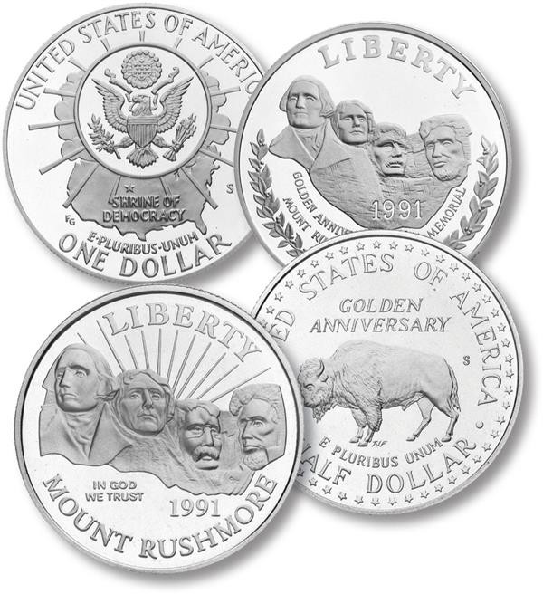 1991 Mount Rushmore Silver Dollar & Clad Half Dollar, Proof