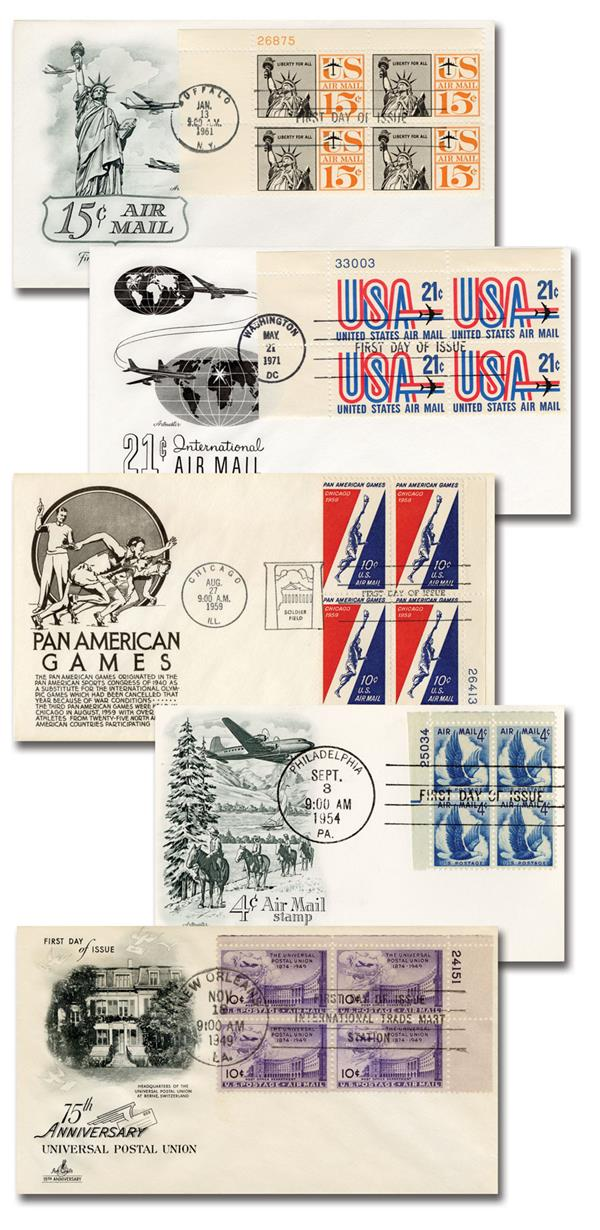 1946-63 Airmail Plate-Block First Day Covers, Set of 5, U.S.