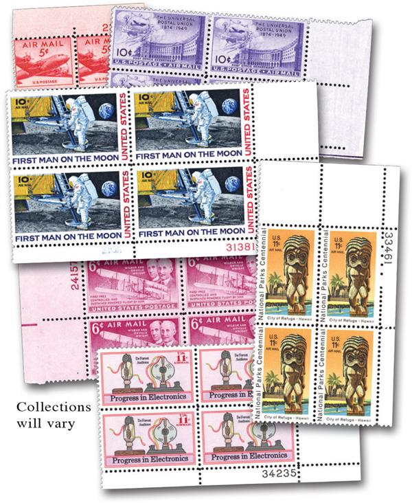 25 Different Airmail Plate Blocks