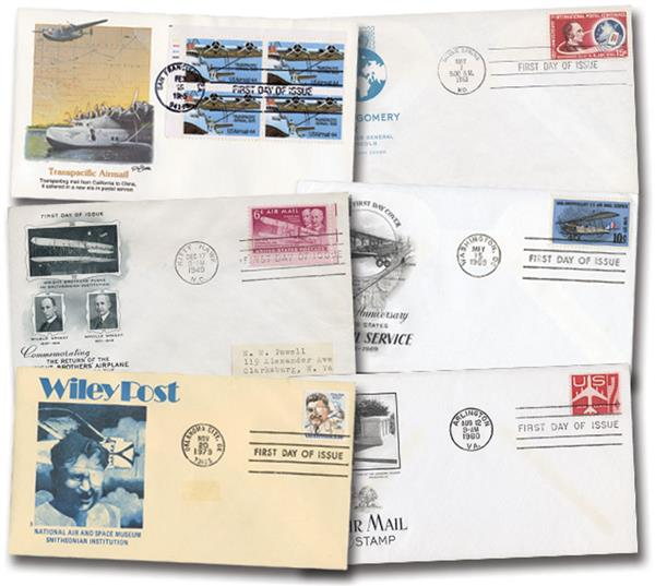 200 Airmail First Day Covers with different cachets or stamps