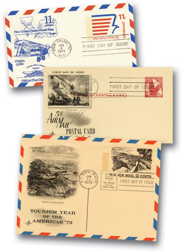 Airmail FDC Postal Cards Collection, Set of 36, U.S.