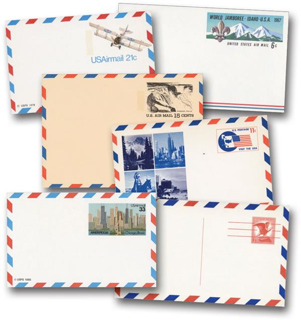 US Airmail Postal Card Collection, Set of 17 (collections may vary)