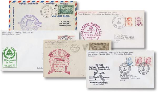 Five Different US First Flight Covers from 1926-89