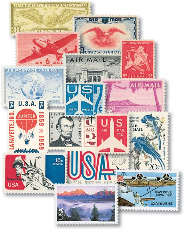 1932-2009 US Airmail Collection, Used, 50 Stamps