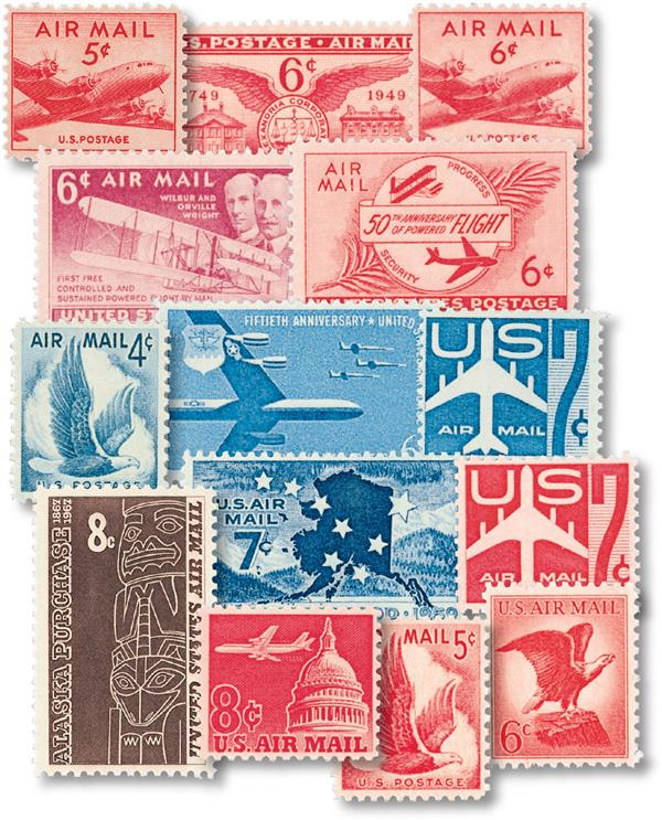 1946-67 US Airmail Collection, Mint, 14 Stamps