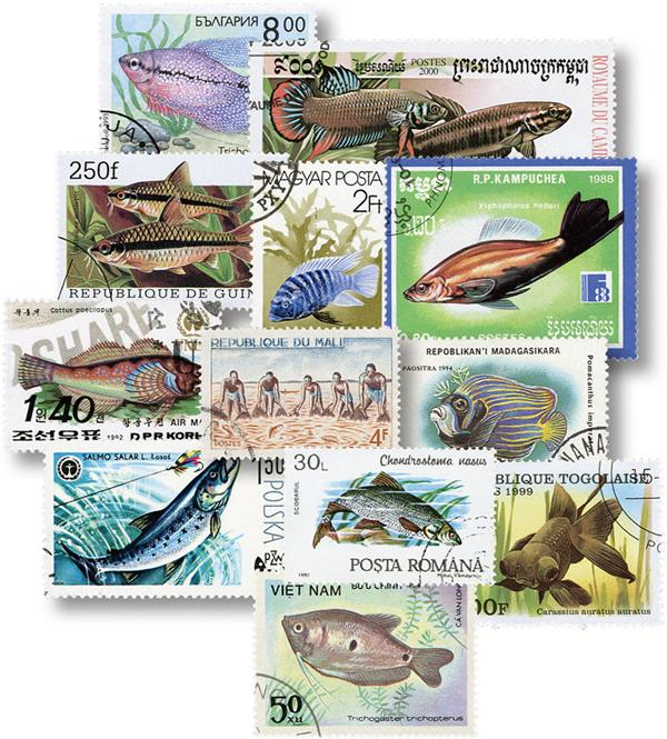 Fish 75 Different Stamps
