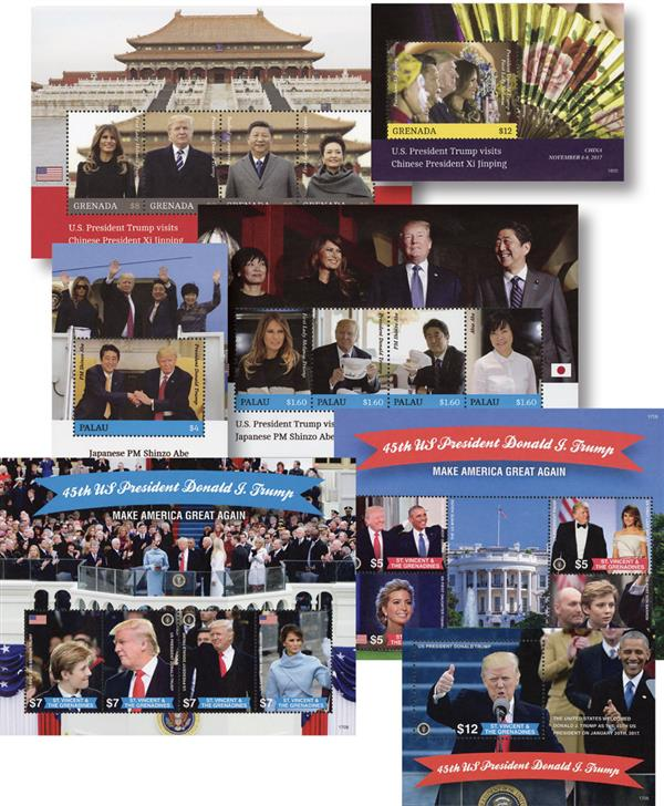 2017-18 Trump Stamps, 4 sheets and 3 souvenir sheets, set of 20 stamps