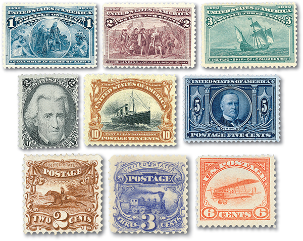 Half-Priced US Postage Stamp Special, 9 Stamps Unused and Used with small Imperfections