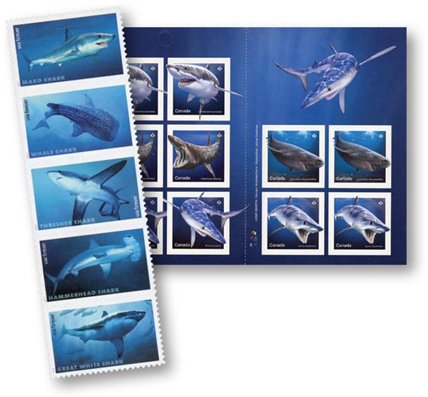 2017-18 US and Canada Shark Sheet Stamps