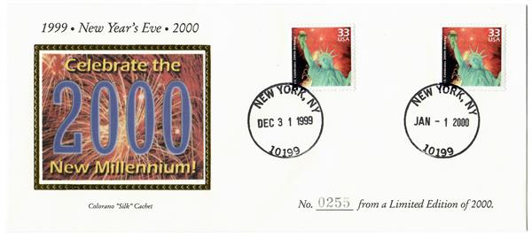 1999-2000 Celebrate the New Millennium, Colorano Silk Cachet with 12/31/1999 & 1/1/2000 Postmarks