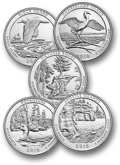 2018 US Park Quarters, D Mint Set of 5
