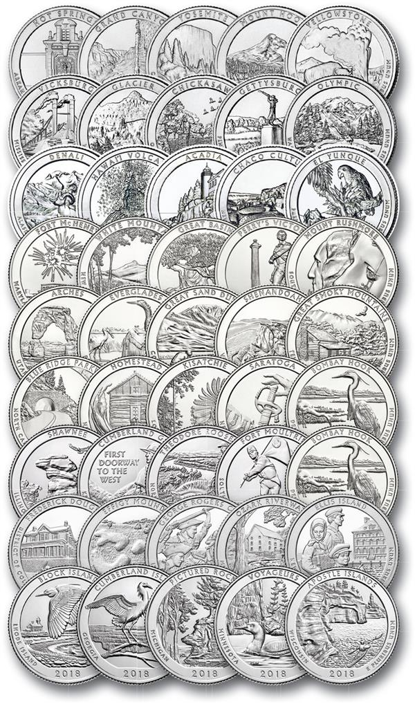 2010-18 U.S. National Park Quarters, D Mint Set of 45
