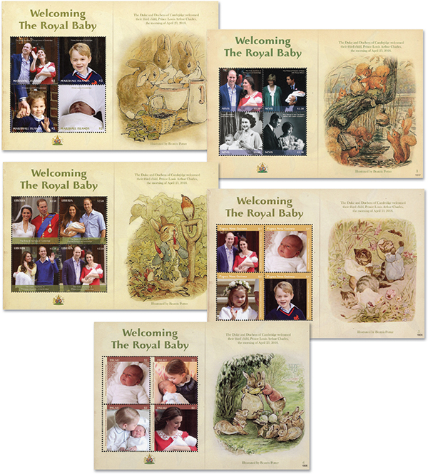 2018 Welcoming Royal Baby with Beatrix Potter Illustrations, Set of 5 Sheets