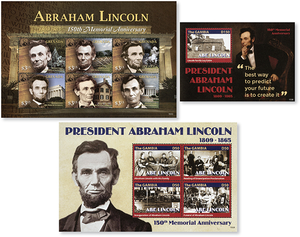 2015 Abraham Lincoln Collection, 3 Mint Sheets, Grenada and Gambia