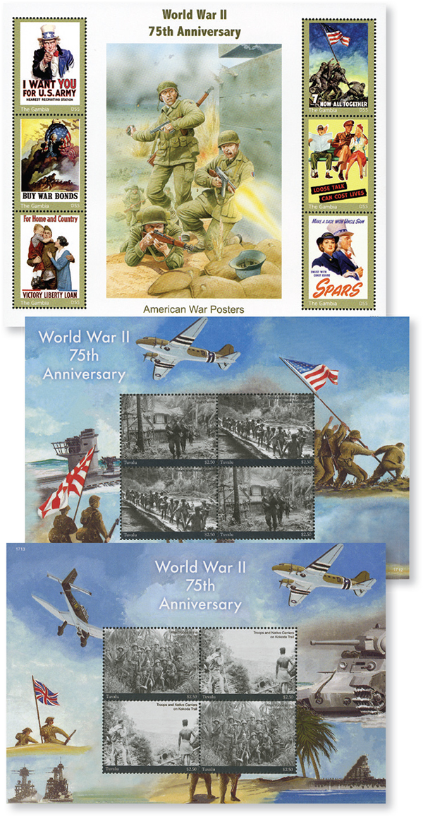 2017 WWII 75th Anniversary, Set of 3 Mint Sheets, Gambia and Tuvalu
