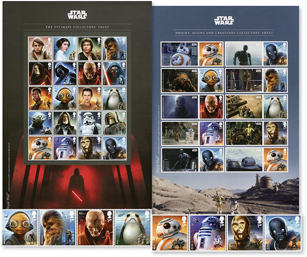 Star Wars Collection, 38 Mint Stamps, Great Britain
