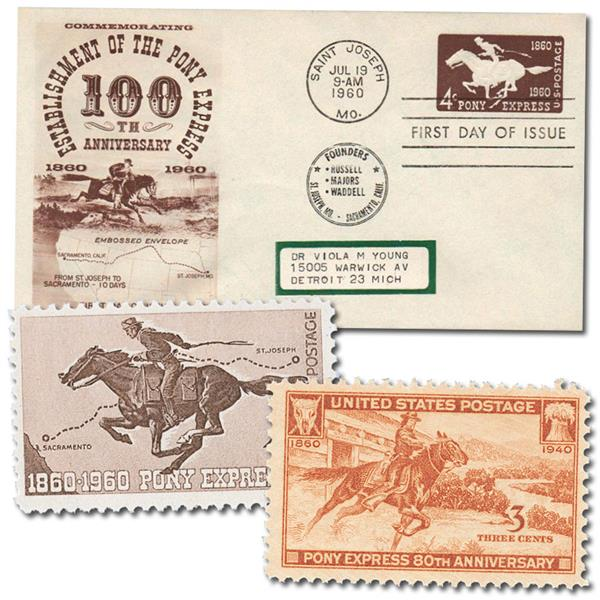 Pony Express Offer, 2 US Mint Stamps and 1 First Day Cover