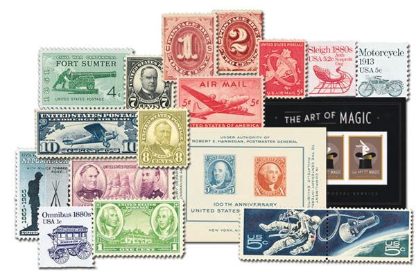 Historic US Stamp Collection, 50 Stamps