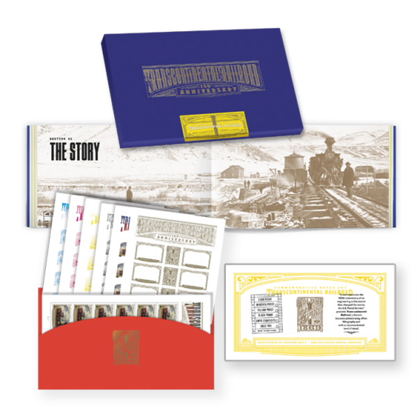 Transcontinental Railroad Stamp and Proof Box Set