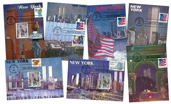 Collection of 7 United We Stand September 11, 2001 Etched Foil Postcards with First Day Cancel