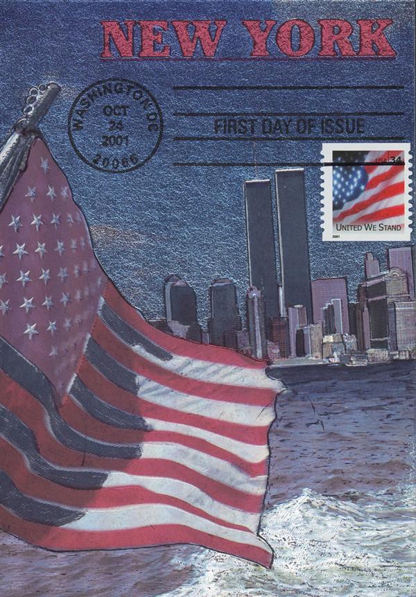 2001 9/11 Postcard - Lower Manhattan Skyline
