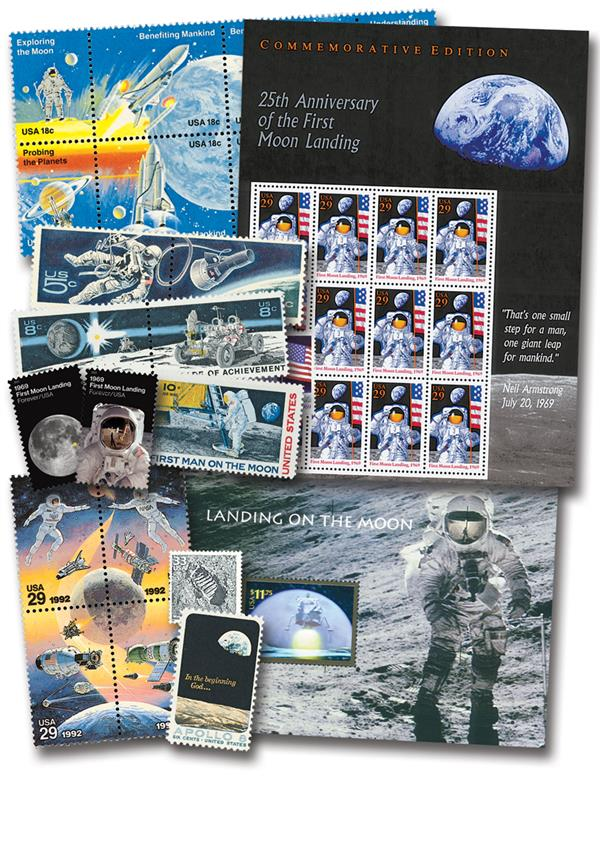 US Stamps Celebrate Moon Landing - 36 mint stamps included